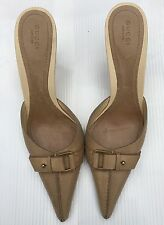 Gucci mules size 9 1/2 Tan leather slide heels