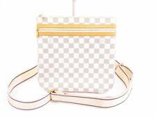 Authentic LOUIS VUITTON Azur Leather White Cross-body Bag Pohette Bosphore #5747