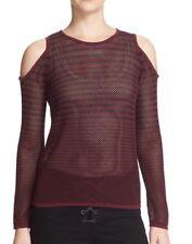 NEW ~ RAG & BONE JEAN Quinn Stripe Cotton Cold Shoulder Sweater L $225 Plum