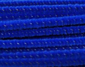 """Lot of 100 Royal Blue Wired Chenille Stems Craft Pipe Cleaners 12"""" x 3mm 1/8"""""""