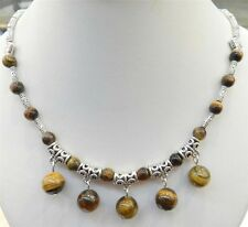 "LOVELY NATURAL TIGER'S EYE ROUND BEADS PENDANTS & TIBET SILVER NECKLACE 18""JN39"