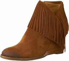 Lucky Brand Women's Yachin Wedge Ankle Fringe Boots in Honey Suede Tan
