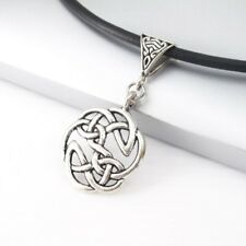 Silver Alloy Round Celtic Knot Pendant Womens Mens Black Leather Surfer Necklace