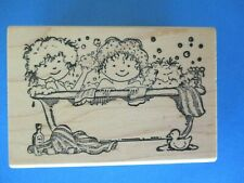 BABIES IN THE TUB Rubber Stamp BUBBLE BATH - DELAFIELD