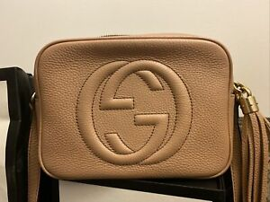 Gucci Soho Disco Crossbody Pebbled Small Leather Bag Taupe