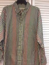 Men's LS Button Down Striped shirt,  Size L, Natural Issue, 100% Cotton, EUC