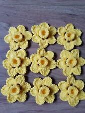 9xHANDMADE CROCHET DAFFODILS FLOWER.SEWING APPLIGUES 7 cm