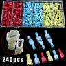 240pcs Insulated Electrical Crimp Wire Connector Terminal Terminals Spade Set