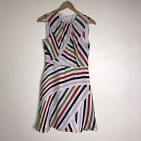 Milly Striped A Line Dress Size 2 Colorful Silk NEW $395