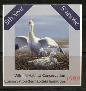 CANADA 1989, BIRDS, FEDERAL WILDLIFE HABITAT CONSERV. Scott FWH5, BOOKLET, MNH