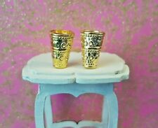 2 Engraved gold metal goblets cup chalice 1:24th scale dolls house king castle