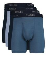 $55 HANES PLATINUM UNDERWEAR MEN BLUE CLASSIC FIT 4-PACK BOXER BRIEFS SIZE XL