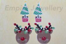 4 x Christmas Acrylic Flatback Cabochon 52x22mm Xmas Santa Reindeer Tree Present