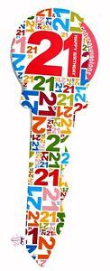 21st Birthday 36 cm Signing Key Keepsake Guest Book Signatures Gift Present