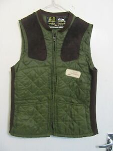 VINTAGE BARBOUR NYLON QUILTED LEATHER TRIM SHOOTING GILET WAIST JACKET SIZE M