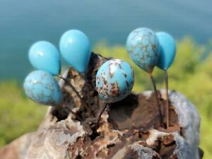 Gorgeous Brown Vein Faux Turquoise Bohemian Glass Embedded Wire Beads Drops