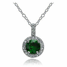 Sterlingsilber erstellt von Smaragd und Weiß Topas Halo Halskette
