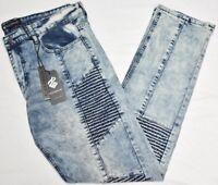 Rocawear Jeans Men 38x32 Slim Skinny Fit Moto Flex Denim Vintage Blue Cloud N887