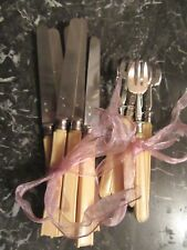 FRENCH ANTIQUE DESSERT CAKE FORKS AND KNIFES MINERVA STERLING SILVER 950