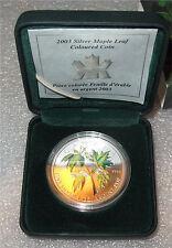 2003 CANADA SILVER 5 DOLLARS, MAPLE LEAF, SUGAR MAPLE COLOR COA BU - GEM