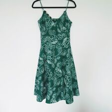 Womens Retro Vintage Style Fit Flare Dress Size 8 Green by Eva Blue Necklace