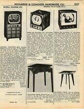 1951 ADVERT Mitchell TV Television Sets Micro Sharp Sonora Portable Radio Clock