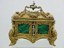 SUPERB ANTIQUE BRONZE / MALACHITE / SILVER JEWELRY BOX FRENCH or RUSSIAN 19 cent