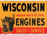 """WISCONSIN ENGINES SALES & SERVICE 16"""" HEAVY DUTY USA MADE METAL ADVERTISING SIGN"""