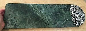 PRETTY GREEN MARBLE CHEESE SERVER OR CUTTING BOARD - SILVER TONED FISH END