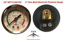 "Air Compressor Pressure / Hydraulic Gauge 2"" Face Back Mount 1/4"" NPT 0-200 PSI"