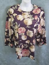Vintage Haband Floral Print Pullover Size 18P Petite 3/4 Sleeve Top