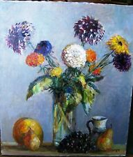 Beautiful Still Life with Autumn Flowers and Fruits by listed Russian artist