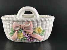 Vintage Lefton Ceramic White Basket w/Pink Ribbon Yellow & Purple Flowers