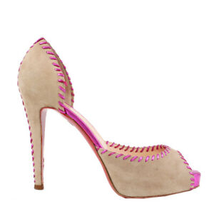 38408 auth CHRISTIAN LOUBOUTIN beige suede & pink Platform Sandals Shoes 38.5