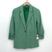 NWT Halogen Ruched Sleeve Blazer green clover single button twill S casual work