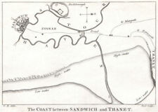 SANDWICH, KENT. 'The coast between Sandwich and Thanet'. GOSTLING 1825 old map