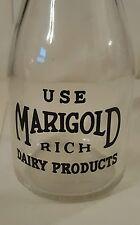Vintage Marigold One Pint Glass Milk Bottle Minnesota collectible