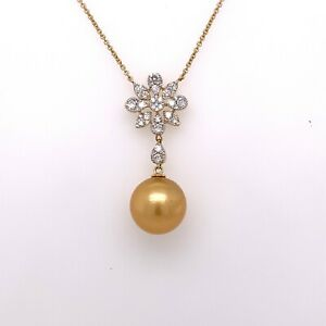 18K Yellow Gold 1.00 CT Diamond & 12.5mm Golden South Sea Pearl Necklace, S15151