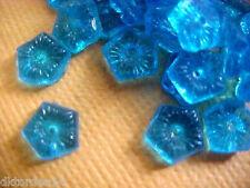 Vtg 100 grams=500 TURQUOISE BLUE FLOWER center hole GLASS BEADS #050309s
