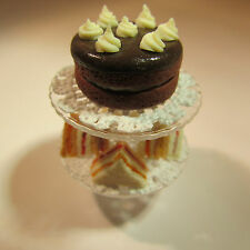 Chocolate Cake & Sandwiches ~ on Glass Stand ~ Doll House Miniature Food ~ 1:12