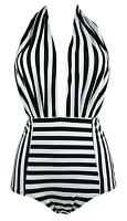 COCOSHIP Black & White Striped Retro One Piece Backless, Black White, Size 12.0