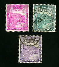 Pakistan Stamps # 41-3 VF Used Top Value Set of 3 Scott Value $86.00