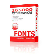 165000 Fonts - 2 DVD - card making web design desktop publishing collection font