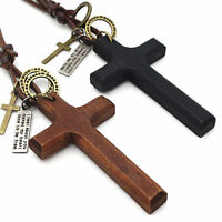For Men Women Adjustable Vintage Wooden Cross Pendant Leather Rope Necklace