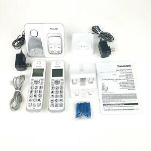 Panasonic Expandable Cordless Phone Answering Machine Call Block 2 Handsets Whit