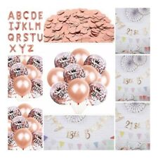 Rose Gold Happy Birthday Bunting Banner Balloons 18/21st/30/40/50 Party Decor