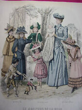 """58/ GRAVURE DE MODE """" Moniteur de la Mode Paris 1891 """".   Grand format 36x26"""