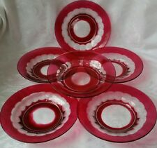 VAL ST. LAMBERT BLARNEY CRANBERRY CUT-TO-CLEAR CRYSTAL PLATES SET OF SIX