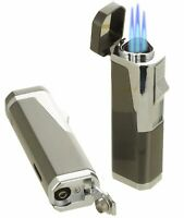 Triple Flame Cigar Torch Lighter with Cigar Punch Cutter