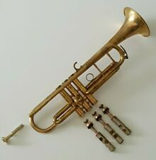 More details for bb trumpet & mouthpiece in brass vintage old - for spare parts repairs prop